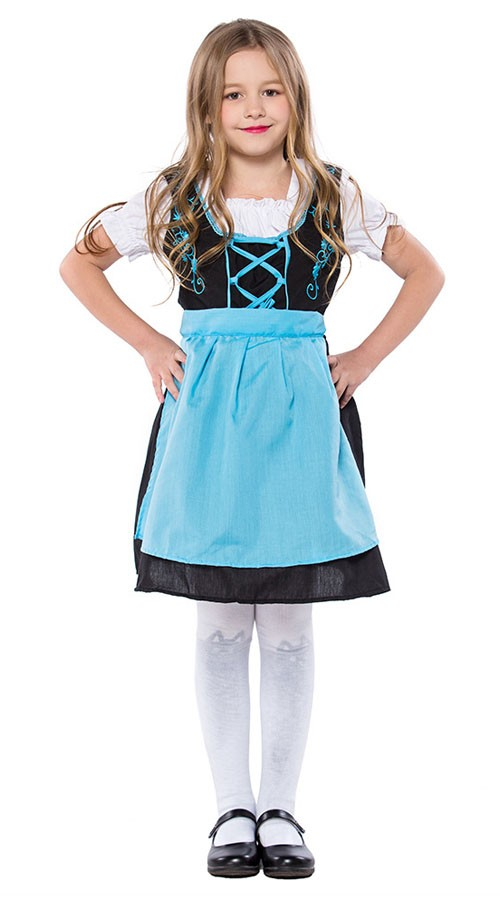 Broderet Tyroler Kostume Børn Oktoberfestkjole