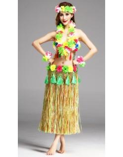 Hula Skørt Hawaii Kostume til Kvinder Flerfarvet Sæt 80cm