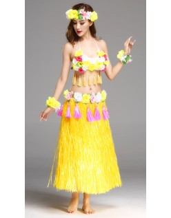 Hula Skørt Hawaii Kostume til Kvinder Gul Sæt 80cm