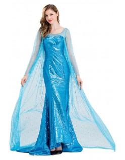 Deluxe Frost Kostumer Isblå Elsa Prinsessekjole Voksen