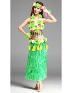 Hula Skørt Hawaii Kostume til Kvinder Grøn Sæt 80cm