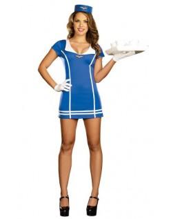 Frække Blåt Stewardess Kostume