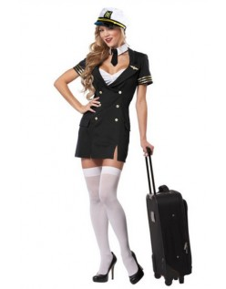 Pilot Kostume Sort Stewardess Kostume