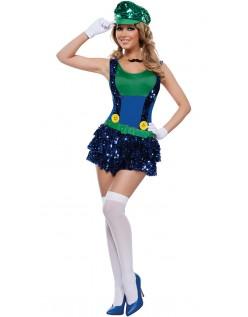 Blændende Grøn Blikkenslager Kostume Super Mario Kostume