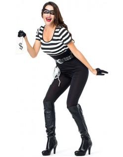 Klassisk Bank Bandit Røver Fange Kostume Kvinder
