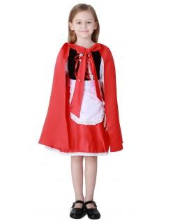 Deluxe Lange Lille Rødhætte Kostume Børn