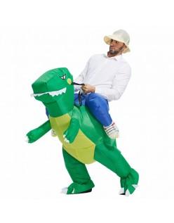 Oppusteligt Dinosaur Kostume til Voksne og Børn Grøn