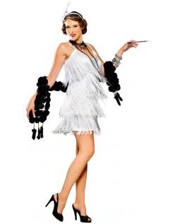 20'er Kostume Hollywood Flapper Kjole Hvid