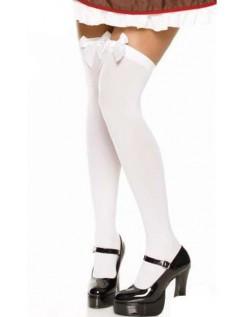 Hvide Overknee Strømper Med Hvid Blonde Sløjfe