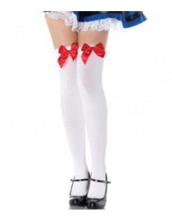 Hvide Overknee Strømper Med Rød Blonde Sløjfe