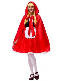 Deluxe Lange Lille Rødhætte Kostume Voksne