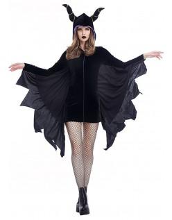 Sort Villian Vampyr Flagermus Kostume