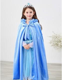 Blå Elsa Frost Kjole til Børn Kappe Med Hætte