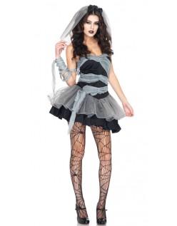 Sort Halloween Spøgelse Zombie Brudekostume