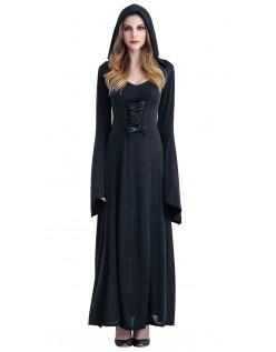 Hættebeklædning Hekse Kostume Sort