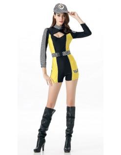 Frække Cheerleader Kostume Racer F1 Kostume Gul