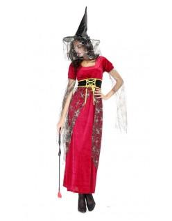 Halloween Hekse Kostume Lang Gasbind Rød