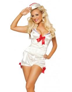 Hvid Frække Matros Kostume Med Rød Sløjfe