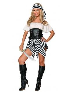 Sort Hvid Stripe Pirat Kostume Kvinder