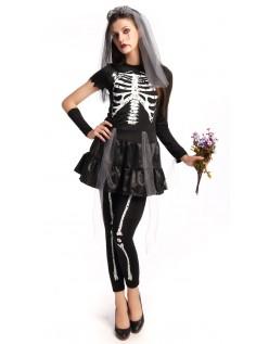 Flirty Halloween Skelet Brud Kostume