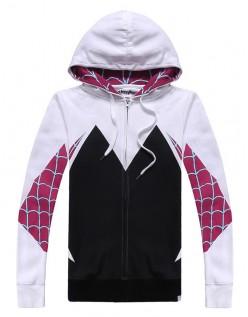 Spider Gwen Kostume Spidergirl Superhelte Marvel Hættetrøje med Lynlås