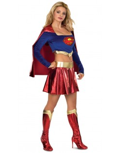 Supergirl Kostume Metallisk Skinnende Superhelte Kostume