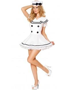 Frække Hvid Matros Jomfru Kostume