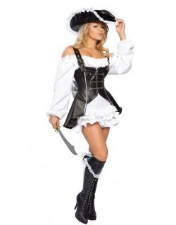 Sort og Hvid Akryl PU Pirat Kostume