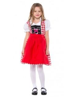 Rød Bayersk Tyroler Kostume Til Børn Oktoberfestkjole