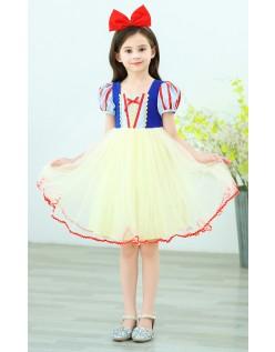 Piger Snehvide Kostume Kortærmet Prinsessekjole