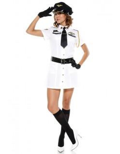 Hvid Stewardess Pilot Kaptajn Kostume
