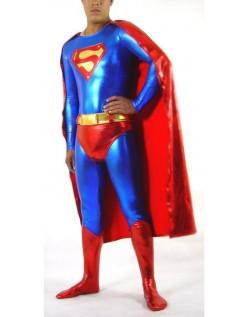 Skinnende Metallisk Superman Kostume Blå Og Rød