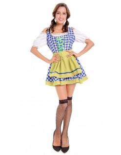 Bayerske Babe Oktoberfest Kostume Tyroler Kostume Kvinder Gul Blå