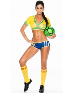 Frække Brasilian Fodboldspiller Kostume