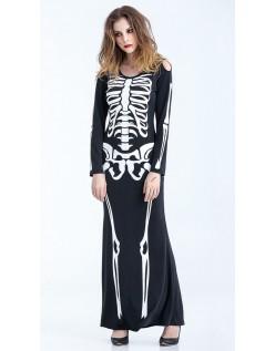 Halloween Skelet Kostume Maxi Kjole