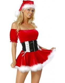 Rød Frække Nissepige Kostume Julekostume