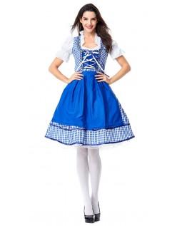 Klassiske Dirndl Heidi Tyrolerskjorte Oktoberfest Kostume Blå