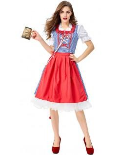 Klassiske Dirndl Heidi Tyrolerskjorte Oktoberfest Kostume Rød