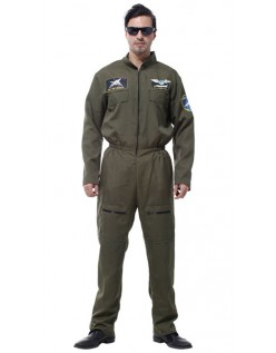 Mænd Top Gun Kostume Flyvestøj Pilot Jumpsuit