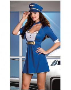 Frække Blåt Stewardess Pilot Kostume