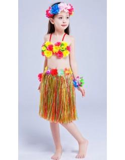 Hula Skørt til Børn Hawaii Kostume Regnbue Sæt 40cm