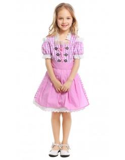 Oktoberfest Tyroler Kostume til Børn Lyserød Tjenestepige Kjole
