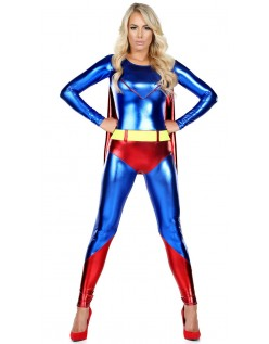 Frække Blå Superhelte Superwoman Kostume