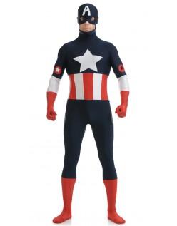 Lycra Spandex Captain America Kostume Blå