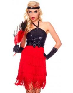 20'erorte Rødt Sequined Flapper Kjole